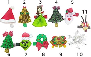 CHIXX Christmas Hairbow Hair Bow Tree Grinch Snowflake Collection Pinch Clips - Shipped from The USA