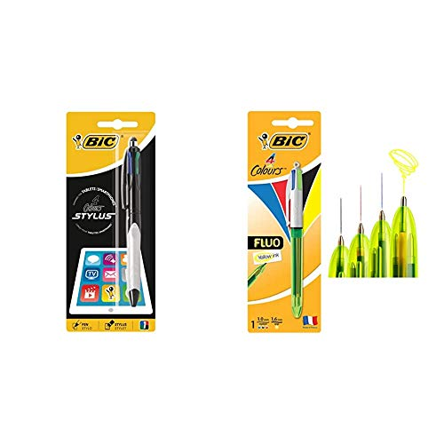BIC 4 Stylus bolígrafos punta media (1,0 mm) - Grip Verde o Gris, Blíster de 1 Unidad + 4 Fluo bolígrafos Retráctiles - Tinta Negra, Azul, Rojo y Amarillo Fluorescente, Blíster de 1 Unidad