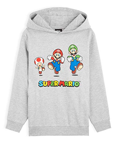 Super Mario Boys Hoodie, Mario and Luigi Kids Sweat Shirt Age 3-14, Boys Gifts (Grey, 11-12 Years)