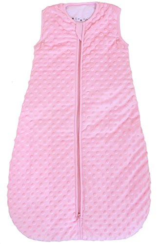 Baby sleeping bag 'Minky Dot' rose, quilted and double layered, 2.5 Togs (Medium (10 - 24 mos))