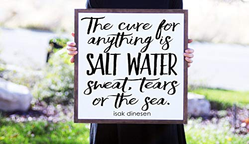 King34Webb zweet tranen of de zee citaat hout teken strand huis Decor zout water citaat strand thuis inspirerende citaat