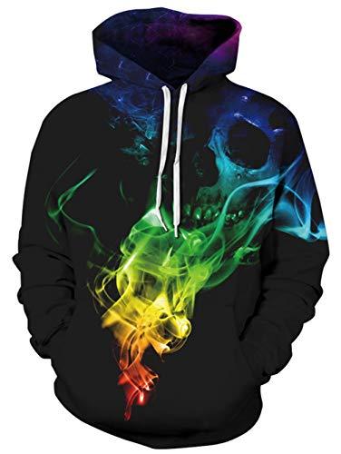 TUONROAD Hoodie Hombre Funny Humo Colores 3D Impreso Sudaderas con Capucha Ligero Unisex Sweatshirt Confortable Pullover Colorido Manga Larga Sweater Hoody con Bolsillos Cordón S-M