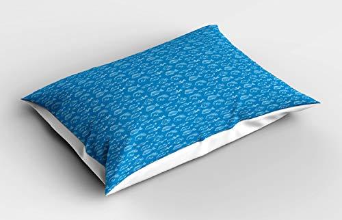 ABAKUHAUS Nautical Blau Kissenbezug, Umreißen Fisch Gewürze, Dekorativer Standard King Size Gedruckter Kissenbezug, 90 x 50 cm, Sea-Blau und Weiß