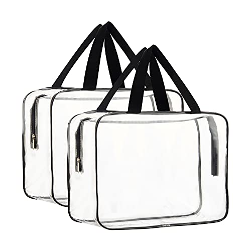 2 Pieces Large Clear Makeup Cosmetic Toiletry Organizer Bag, Clear...