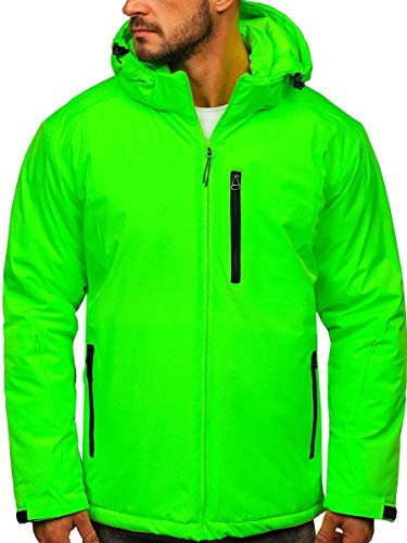 BOLF Herren Winterjacke Skijacke Snowboardjacke mit Reißverschluss und Kapuze Bündchen Outdoor Freizeit Mix J.Style HH011 Grün-Neon S [4D4]