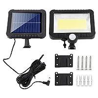 ACAMPTAR ソーラーランプCOB 100 LEDソーラーパワーモーションセンサー屋外ガーデンライトセキュリティフラッドランプソーラー屋外ランプボディ誘導