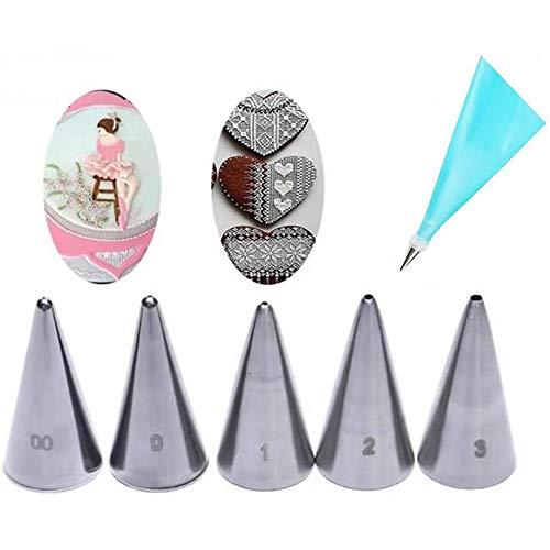 FuNiang 7 Piezas de boquillas para glaseado, (5 Tubos de Escritura, 1 acoplador, 1 Bolsa de Silicona para pastelería)