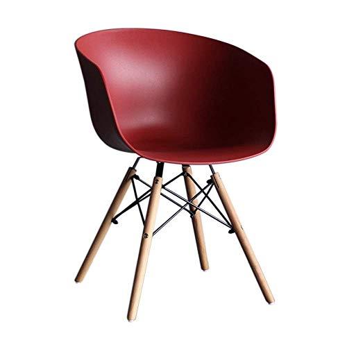 YLCJ Eetkamerstoel, loungestoel voor computer HYX003, bureaustoel, werkstoel, kantoor thuis, minimalistische Scandinavische stijl, kunststof met rugleuning, met stoel (kleur: geel) Rood