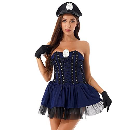 dPois Disfraz Sexy Policía para Mujer Cosplay Traje Adulto Policía Uniforme Traje Vestido Mini Sexy con Sombrero Disfraz Carnaval Fiesta Club Mujer Azul Oscuro M
