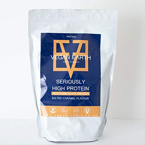Vegan Protein Powder Seriously High Protein - Salted Caramel 1kg | 100% Plant-Based Goodness & Completely Natural | Gluten-Free | Made in UK by Vegan Earth