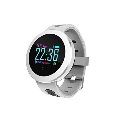 UKCOCO Bluetooth Smart Watch, IP68 Rastreador de Fitness a Prueba de Agua Monitor de Ritmo Cardíaco de Oxígeno Sanguíneo Pantalla Táctil Smartwatch para Android iOS (Blanco)