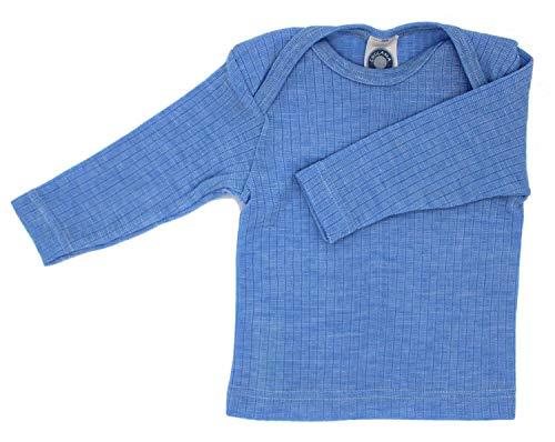 Cosilana Baby Schlupfhemd, Größe 62/68, Farbe Blau meliert - Exclusiv Wollbody®GmbH - Qualität 91 45% Baumwolle kbA, 35% Schurwolle kbT, 20% Seide