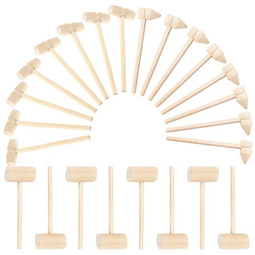 24 Pcs Mini Wooden Hammers for Chocolate, Small Wooden Mallets for Breakable Chocolate Heart, Crab or Lobster Seafood Hammers Natural, Crafts and Party Game Props