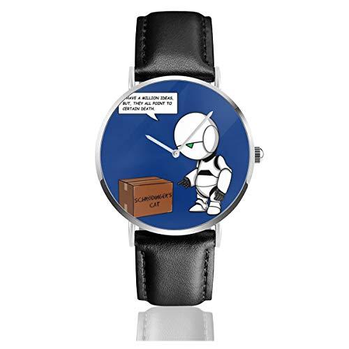 Orologio da polso unisex per autostoppi, stile casual, con guida alla Galassia Marvin Schrodingers, orologio da uomo e donna, con cinturino in pelle nera, regalo