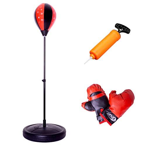 Nexos Punching-Ball-Set Stand-Boxsack Boxstand höhenverstellbar 75cm – 105cm Boxhandschuhe Pumpe, Boxtraining für Kinder