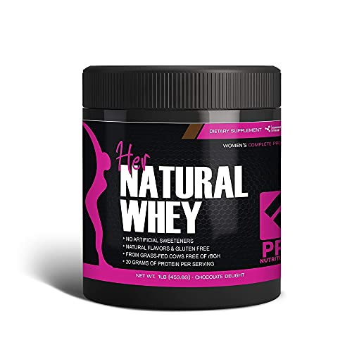 Her Natural Whey Protein Powder for Women - Supports Weight Loss & Lean Muscle Mass - Low Carb - Gluten Free - Grass Fed & rBGH Hormone Free (Chocolate Delight, 1 lb)