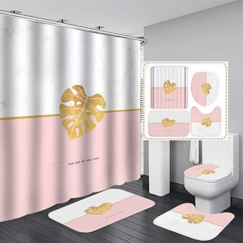 Juego de 4 alfombras de baño antideslizantes, cortina de ducha, alfombra de pedestal de baño lavable, tapa de inodoro, alfombra de baño, cortina de ducha impermeable ( Color : J , Size : 59*70.8inch )