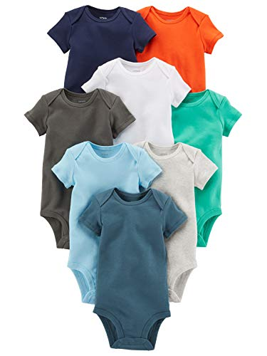 Carter's Baby Boys' 8-Pack Short-Sleeve Bodysuits, Assorted Pack, 3M