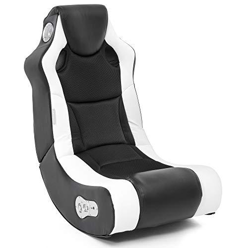 Wohnling Soundchair Booster in Schwarz Weiß mit Bluetooth eingebauten Lautsprechern | Multimediasessel für Gamer | Musiksessel 2.1 Soundsystem-Subwoofer | Music Rocker, Lederimitat, 100x82x56cm