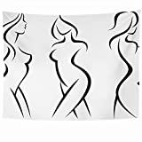 Wall Hanging Tapestries Set Stylized Spa Silhouettes Woman Bodystock Salon Sexual Corporate People Beauty Abstract Fashion Tapestry Wall Blanket Home Decor Living Room Bedroom Dorm