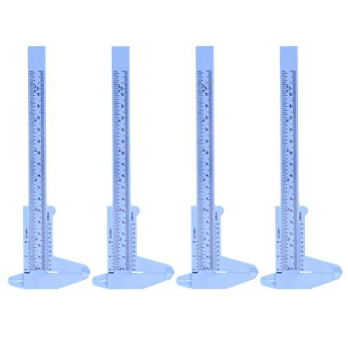 ULTECHNOVO 4Pcs Kunststoff Nonius Messschieber Doppelmaß Messschieber Lineal Messwerkzeug für Schmuck Schiebe Messgerät Tattoo Augenbrauen Schablone (Blau)