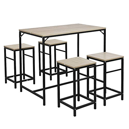 Preisvergleich Produktbild Flyelf Bartisch Set,  Esstisch Bistrotisch und 4 Stühlen für Küche,  5-Teilig