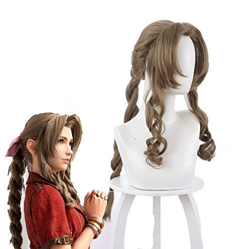 Juego Final Fantasy Vii Aerith Gainsborough Cosplay pelucas marrn largo rizado resistente al calor pelo sinttico Peruca + gorro de peluca