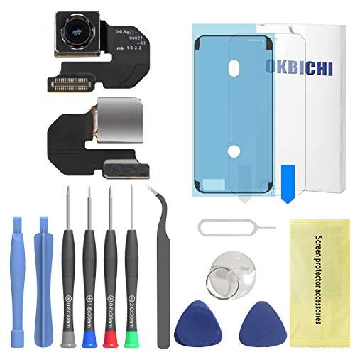 OKBICHI Cámara trasera para iPhone 6S (todos los transportistas) Módulo de cámara trasera Flex Cable Reemplazo - Herramientas de reparación con protector de pantalla y sello impermeable