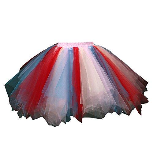Honeystore Damen's Tutu Unterkleid Rock Abschlussball Abend Gelegenheit Zubehör Blau Rot Rosa und Gelb A520626120110