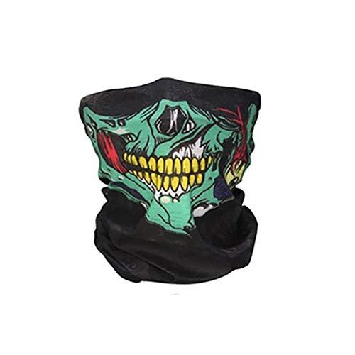 Saladplates-LXM Neck Gaiter Multi Functie Hoofddeksels Maskers Halloween Skull Party Sjaals Masquerade Mardi Gras Zwarte Hals Enge Motorfiets
