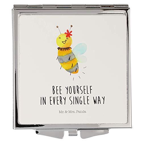 Mr. & Mrs. Panda Handtasche, schminken, Handtaschenspiegel quadratisch Biene Blume mit Spruch - Farbe Weiß