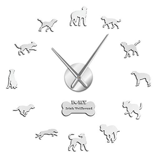 yage Pegatinas de Arte de Pared de Raza de Perro Wolfhound DIY Reloj de Pared Gigante para Cachorros Perros decoración del hogar Reloj de Pared sin Marco