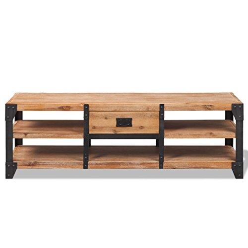 Festnight Meuble TV Industriel, Meuble TV ledMeuble TV Bois d'acacia Massif avec Un tiroir pour Salon