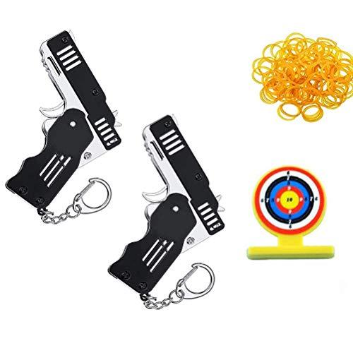 2 Stück Mini Faltbares Gummiband Pistole Spielzeug Gummi Band Launcher Gun Spielzeug Schlüsselanhänger Faltbare Handgemachte Spielzeug Pistole Dekor für Erwachsene Kinder