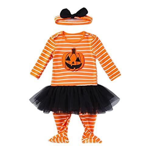 TMOYJPX Disfraces Niña Halloween Disfraz Mono Niño 0-24 Meses Navidad Invierno, Conjunto Ropa Bebe Unisex, Peleles Mameluco de Vestido Falda+ Banda de Pelo (0-3 meses, Calabaza)