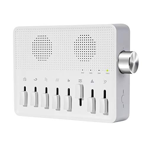 AGPtek Máquina de Ruido Blanco Para Dormir, Máquina con múltiples usos, 7 sonidos naturales y 1 ruido blanco, con funciones de memoria y temporizador con cable USB