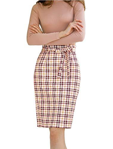Allegra K Women's Elegant Plaid Skirt High Waist Knee Length Office Pencil Skirts Pink S (US 6)