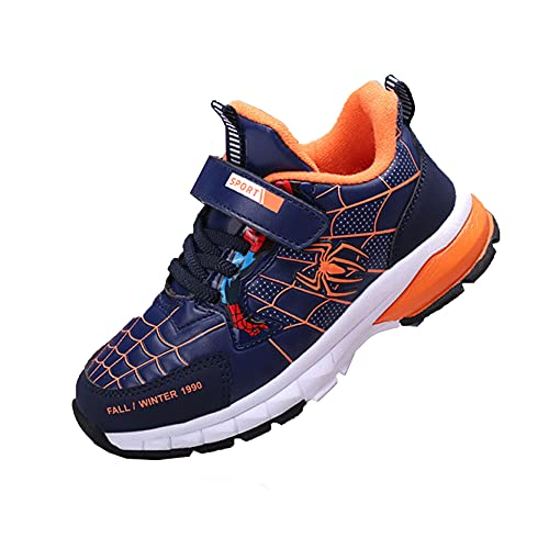 Xyh723 Enfants Spiderman Sneakers Garçons Outdoor Running Trainers Enfants Vacances Randonnée Chaussures De Sport Adolescent Superhero Football Chaussures Cadeau,Blue-36 23.0CM