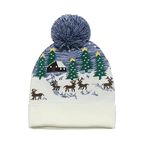LED Light-up Christmas Hats for Men Women Novelty Elk Pattern Knitted Caps Beanie Hat with Flashing Modes for Holiday Xmas