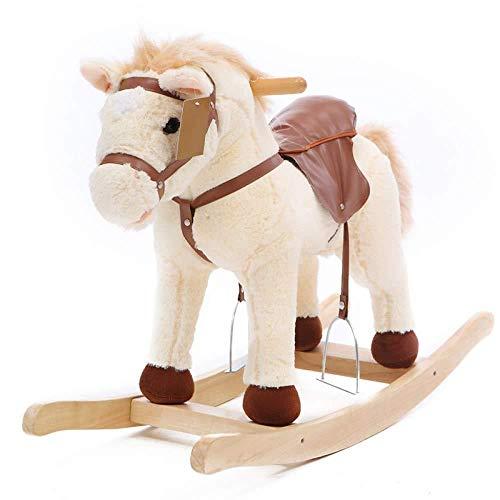 XMJ niño del Caballo de oscilación de Madera del niño de Felpa de una Silla Estribo Ride Juguete Activa la Boca, moviendo la Cola de Sonido, yo-yo de Coches, cumpleaños de Juguete de Regalo