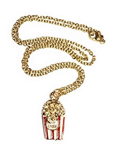 FizzyButton Gifts Popcorn Charme Halskette mit verGoldeter Edelstahlkette im Geschenkkarton