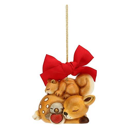 THUN ® - Addobbo per Albero di Natale cerbiatto con Scoiattolo e pettirosso Maxi