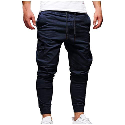 riou Pantalones de Hombre Jogger Deportivos Cinturones de Amarre Pantalones de Chándal Sueltos Ocasionales Pantalón con Cordón Pants Sueltos Ocasionales