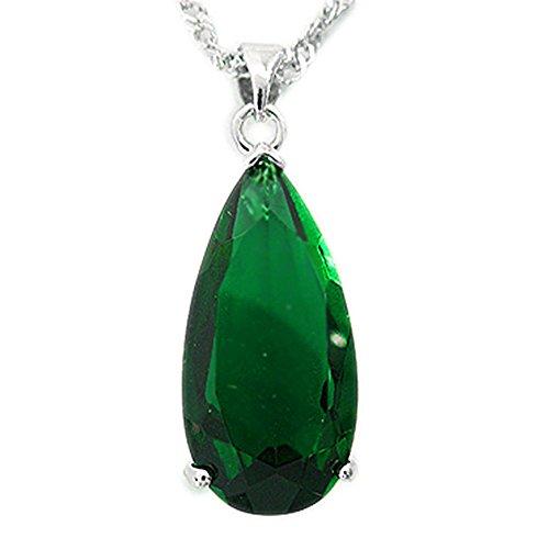 25mm esmeralda verde tono Plata joyer¨ªa pendiente del collar de se?ora Fashion para el vestido