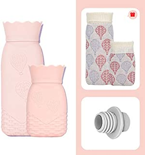Hot Water Bottle Microwave Heating Bottle Environmental Silicone Hot Water Bag with Knit Cover Hot & Cold Therapies Gift for Birthday Christmas Valentine's Day 2 Pack
