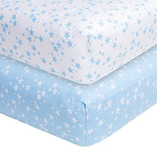 Étoiles bleues 2-pack draps de lit (71 x 132 cm), doux Coton Tissé 200 TC