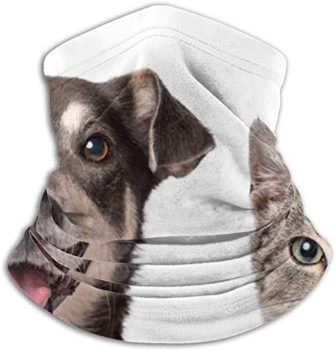 Teemoo Fleece-Nackenwärmer, multifunktionale Katze Hund suchen Kamera auf weißen Schal, Vollmaske oder Hut, Nackenschutz, Nackenmütze, Skimaske, Halbmaske, Gesicht M