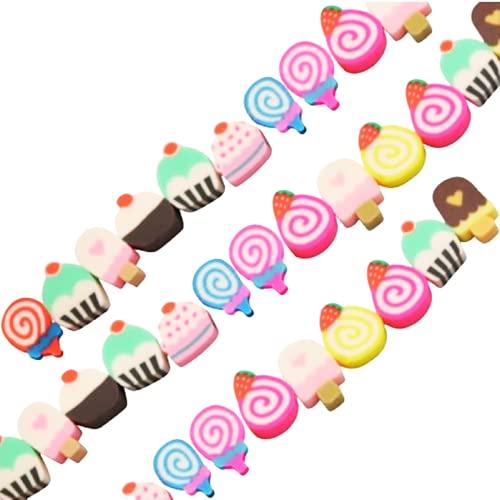 Sadingo Abalorios de caramelo (40 unidades de cuentas de arcilla polimérica), mezcla de perlas de colores al azar, joyas para niños
