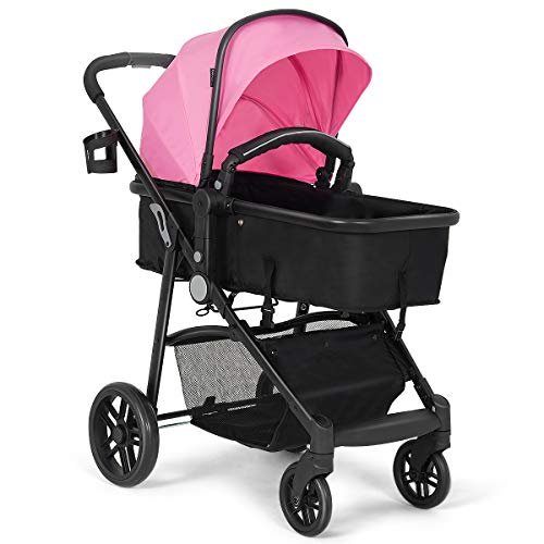BABY JOY Baby Stroller, 2 in 1 Convertible Carriage Bassinet to Stroller, Pushchair with Foot Cover, Cup Holder, Large Storage Space, Wheels Suspension, 5-Point Harness, Pink
