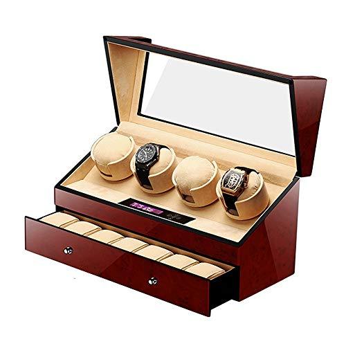 LJP Mudo Cajas Giratorias para Relojes Automático 4+7 Watch Winder con Cajon, Pantalla LCD Táctil Digital Suave Almohadas Pintura de Piano 5 Modos